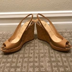 Christian Louboutin Nude Cork Wedges